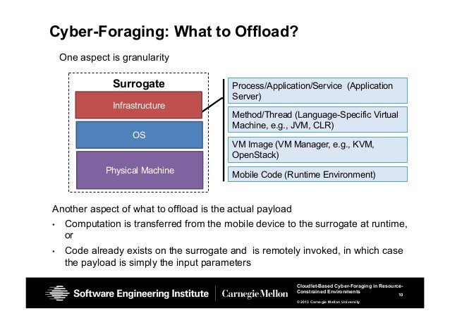 10 Cloudlet-Based Cyber-Foraging in Resource- Constrained Environments © 2013 Carnegie Mellon University Cyber-Foraging: W...