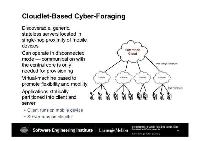 11 Cloudlet-Based Cyber-Foraging in Resource- Constrained Environments © 2013 Carnegie Mellon University Cloudlet-Based Cy...