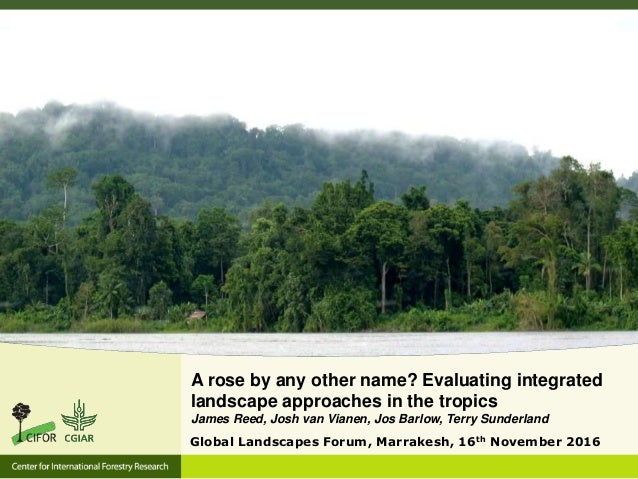 A rose by any other name? Evaluating integrated landscape approaches in the tropics James Reed, Josh van Vianen, Jos Barlo...