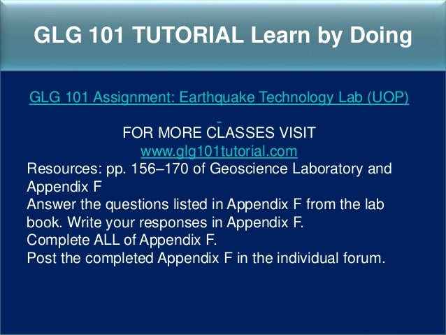glg 101 groundwater lab appendix f Glg 101 earthquake tecnology lab for more course tutorials visit wwwtutorialrankcom resources: pp 156–170 of geoscience laboratory and appendix f answer the questions listed in appendix f from the lab.