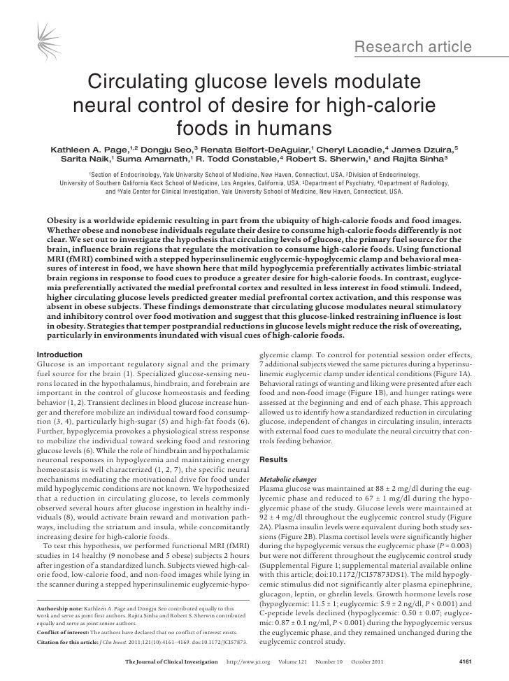 Research article               Circulating glucose levels modulate              neural control of desire for high-calorie ...