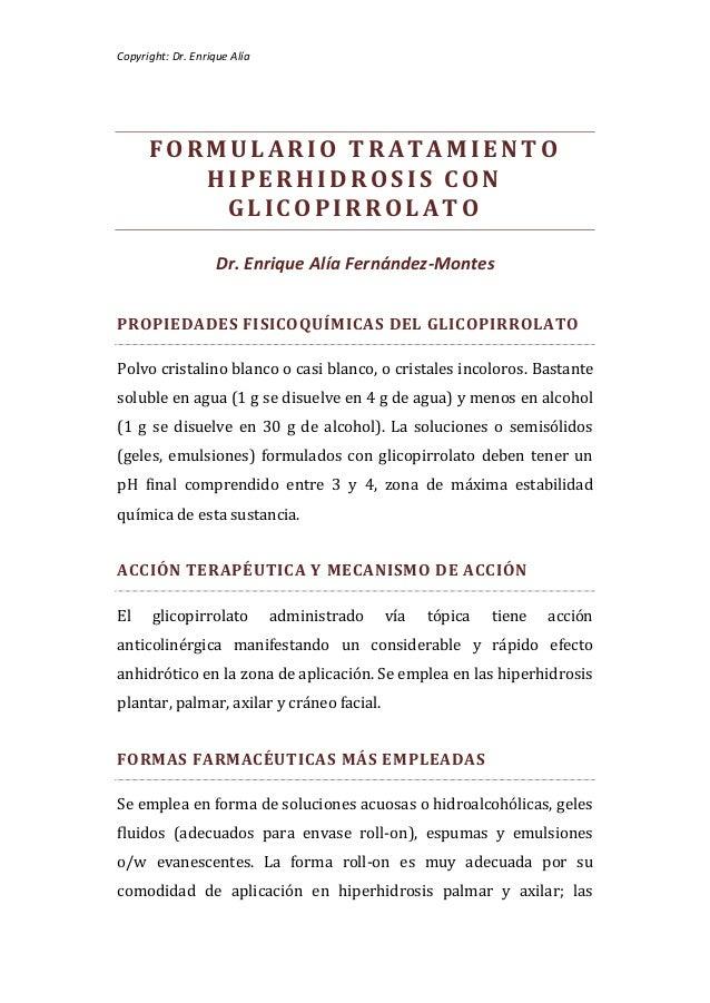 Copyright: Dr. Enrique Alía      FORMULARIO TRATAMIENTO         HIPERHIDROSIS CON          GLICOPIRROLATO                 ...