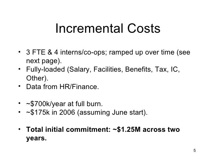 Incremental Costs• 3 FTE & 4 interns/co-ops; ramped up over time (see  next page).• Fully-loaded (Salary, Facilities, Bene...