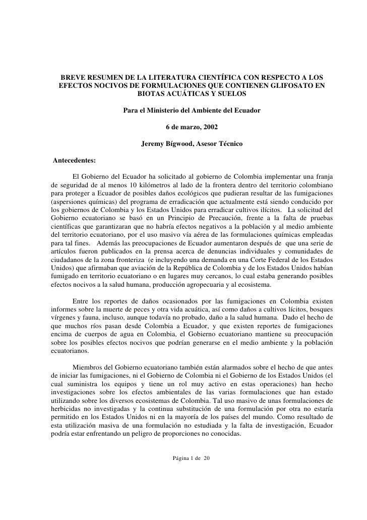 BREVE RESUMEN DE LA LITERATURA CIENTÍFICA CON RESPECTO A LOS  EFECTOS NOCIVOS DE FORMULACIONES QUE CONTIENEN GLIFOSATO EN ...