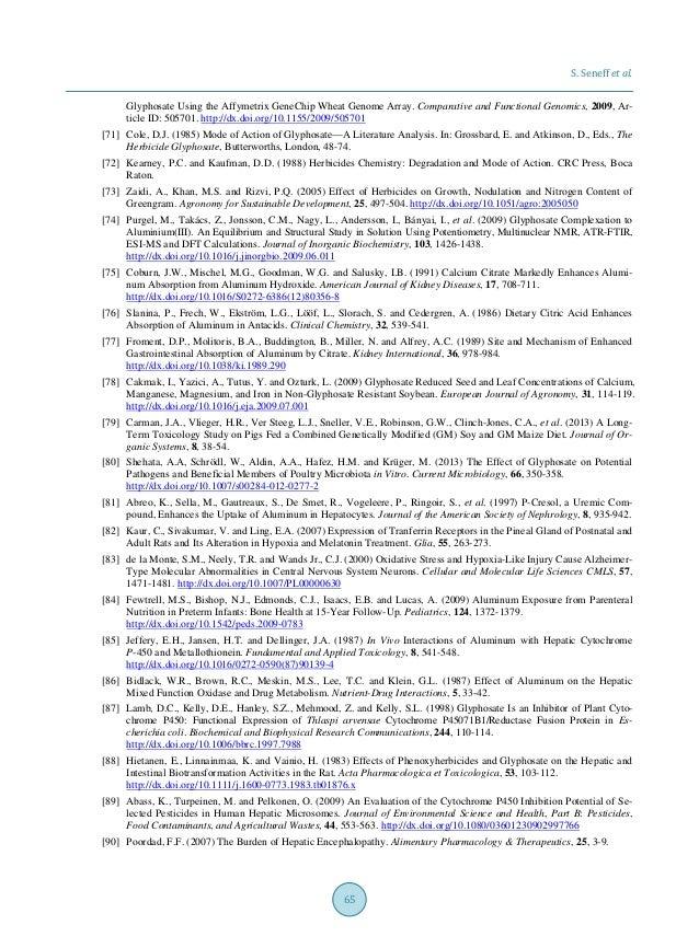 S. Seneff et al. 65 Glyphosate Using the Affymetrix GeneChip Wheat Genome Array. Comparative and Functional Genomics, 2009...