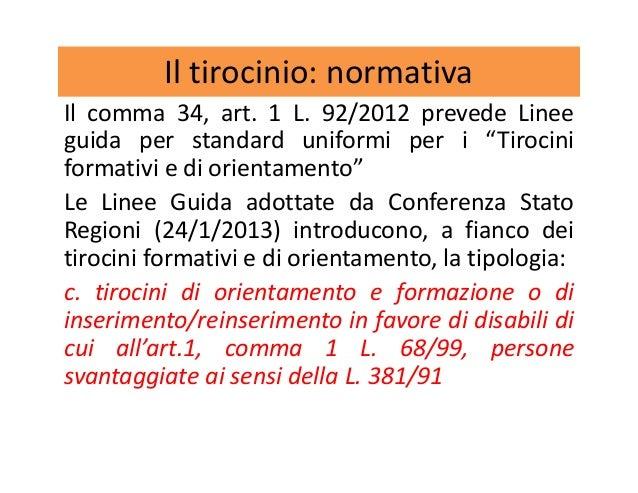 """Il tirocinio: normativa Il comma 34, art. 1 L. 92/2012 prevede Linee guida per standard uniformi per i """"Tirocini formativi..."""