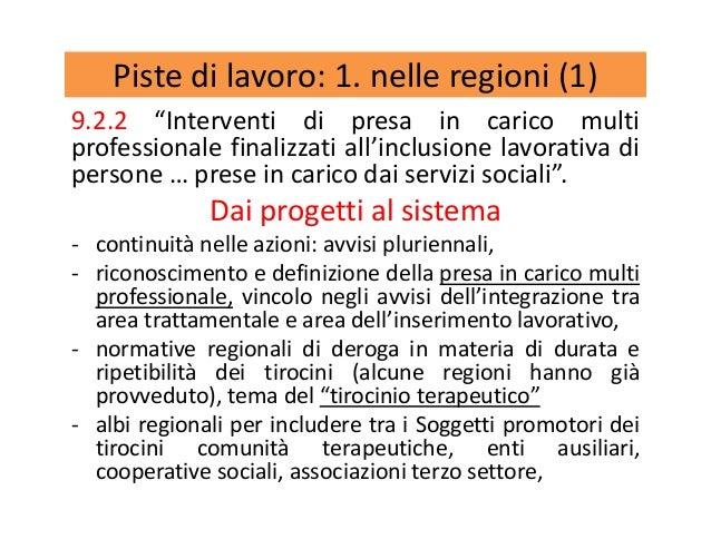 """Piste di lavoro: 1. nelle regioni (1) 9.2.2 """"Interventi di presa in carico multi professionale finalizzati all'inclusione ..."""