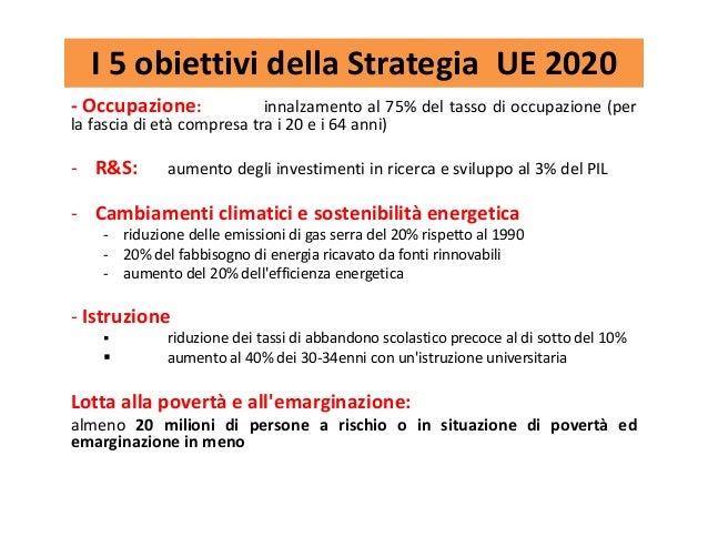 I 5 obiettivi della Strategia UE 2020 - Occupazione: innalzamento al 75% del tasso di occupazione (per la fascia di età co...