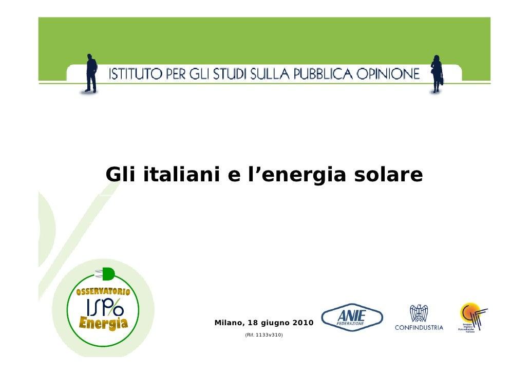 Gli Italiani e l\'energia Solare