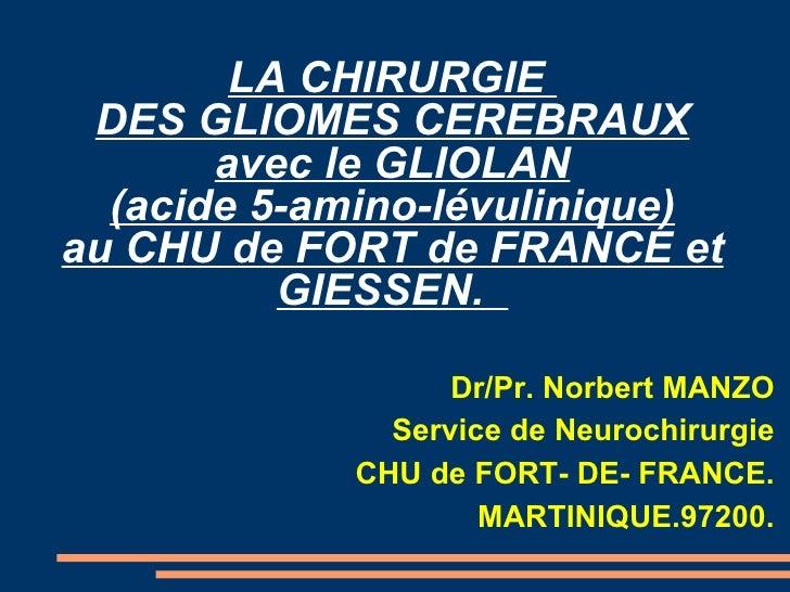 LA CHIRURGIE  DES GLIOMES CEREBRAUX avec le GLIOLAN (acide 5-amino-lévulinique) au CHU de FORT de FRANCE et GIESSEN.  <ul>...