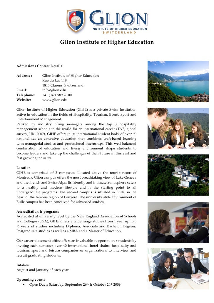 Glion Institute of Higher Education    Admissions Contact Details  Address :       Glion Institute of Higher Education    ...