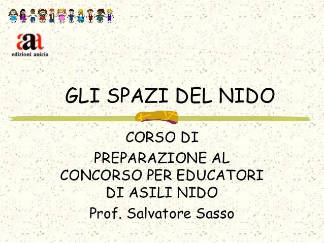 GLI SPAZI DEL NIDO CORSO DI PREPARAZIONE AL CONCORSO PER EDUCATORI DI ASILI NIDO Prof. Salvatore Sasso