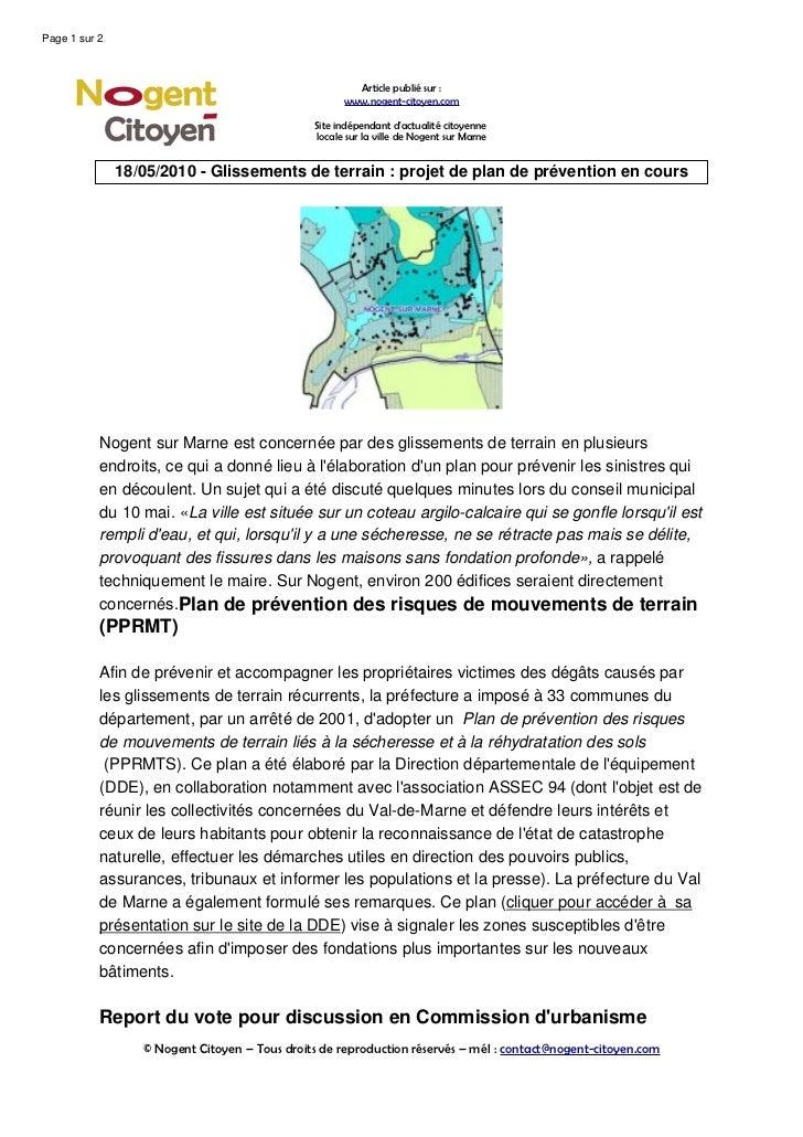 Glissements de terrain projet de plan de prevention en cours for Projet de plan