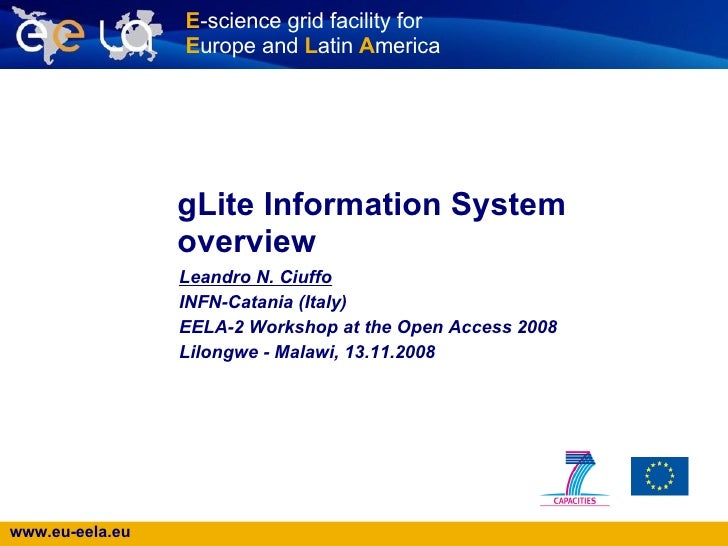 gLite Information System overview   Leandro N. Ciuffo   INFN-Catania (Italy) EELA-2 Workshop at the Open Access 2008 Lilon...