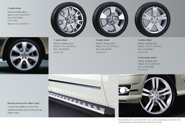 2010 mercedes benz glk class accessories silver star for Mercedes benz tire sizes