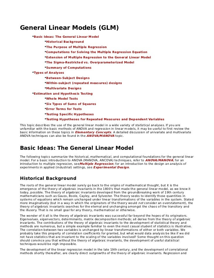 General Linear Models (GLM)        •Basic Ideas: The General Linear Model                •Historical Background           ...