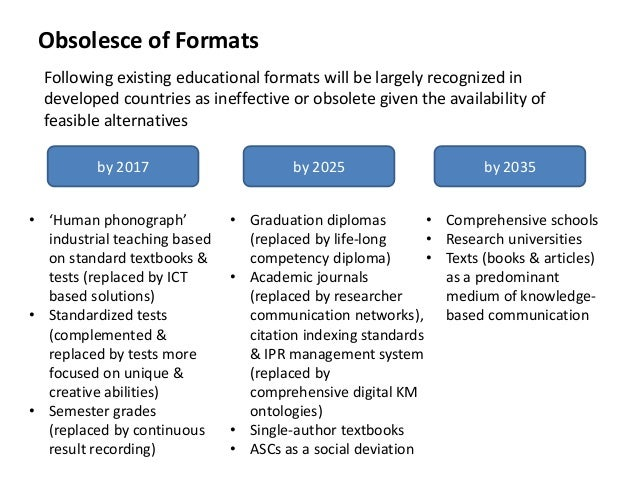 Obsolesce of Formats Following existing educational formats will be largely recognized in developed countries as ineffecti...