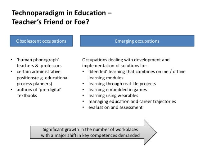 Technoparadigm in Education – Teacher's Friend or Foe? Obsolescent occupations  • 'human phonograph' teachers & professors...