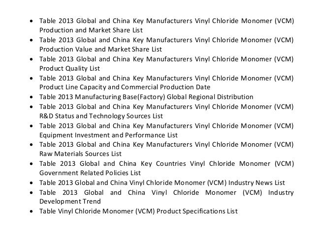 Global And China Vinyl Chloride Monomer Vcm Industry 2013