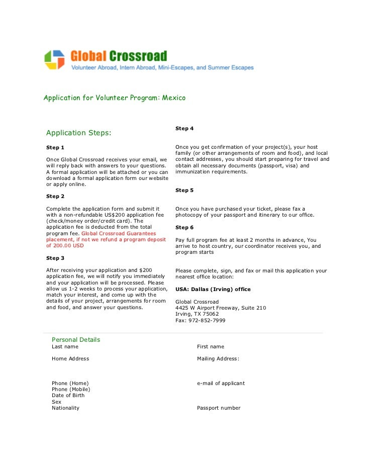 Global crossroad application volunteer mexico