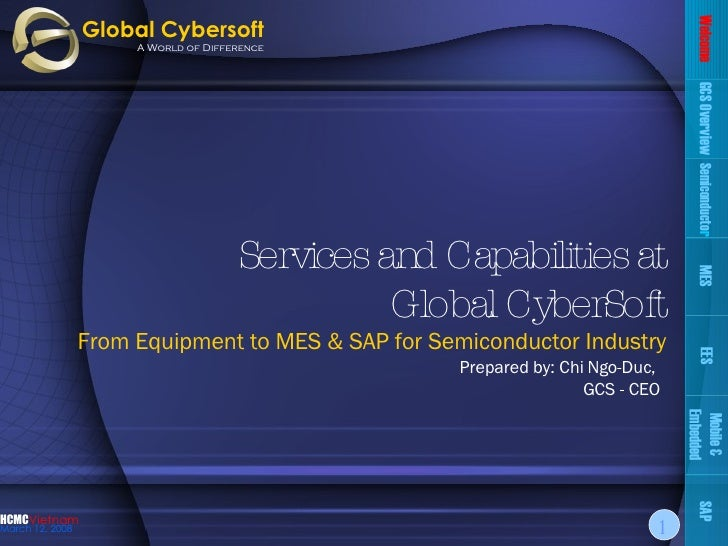 Services and Capabilities at Global CyberSoft From Equipment to MES & SAP for Semiconductor Industry Prepared by: Chi Ngo-...