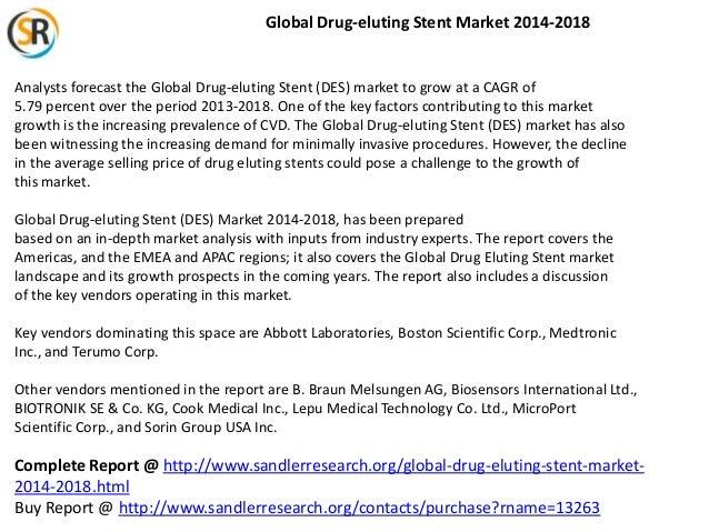 Global Drug-eluting Stent Market 2014-2018  Analysts forecast the Global Drug-eluting Stent (DES) market to grow at a CAGR...