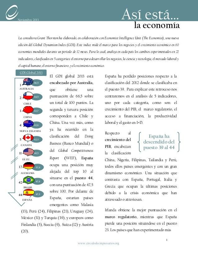Así está…  Noviembre 2013  la economía  La consultora Grant Thornton ha elaborado, en colaboración con Economist Intellige...