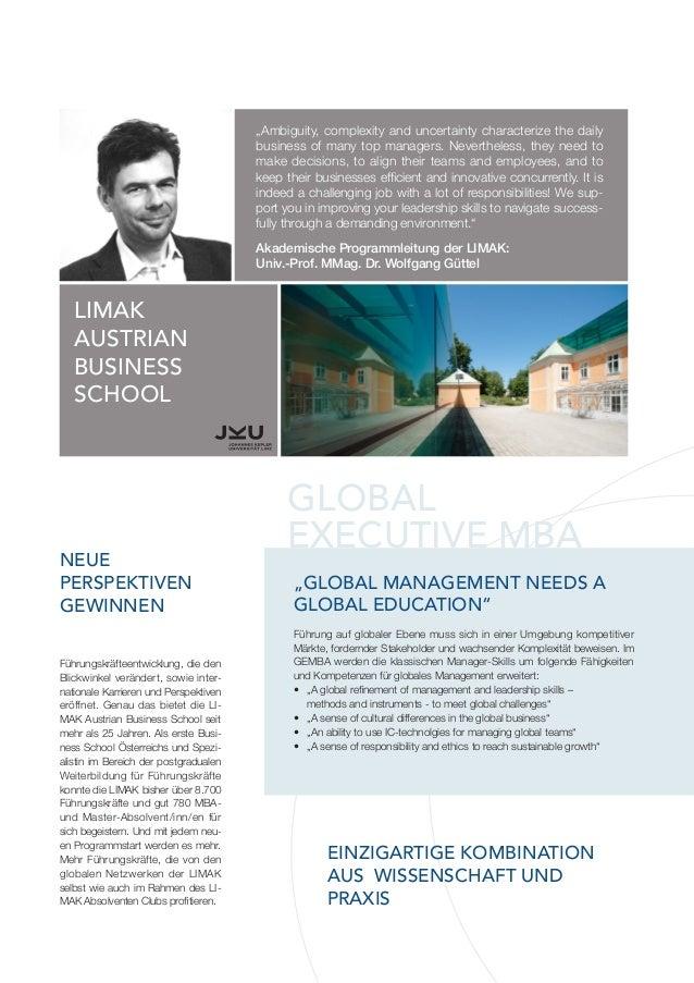 Global Executive MBA der SMBS University of Salzburg Business School Slide 2