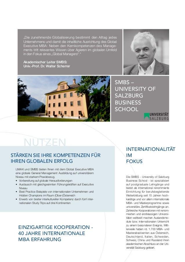 Global Executive MBA der SMBS University of Salzburg Business School Slide 3