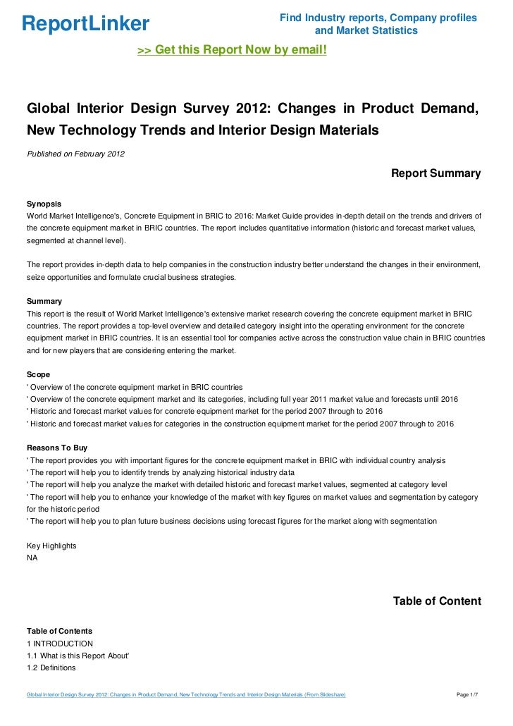 Global Interior Design Survey 2012 Changes in Product Demand New Te
