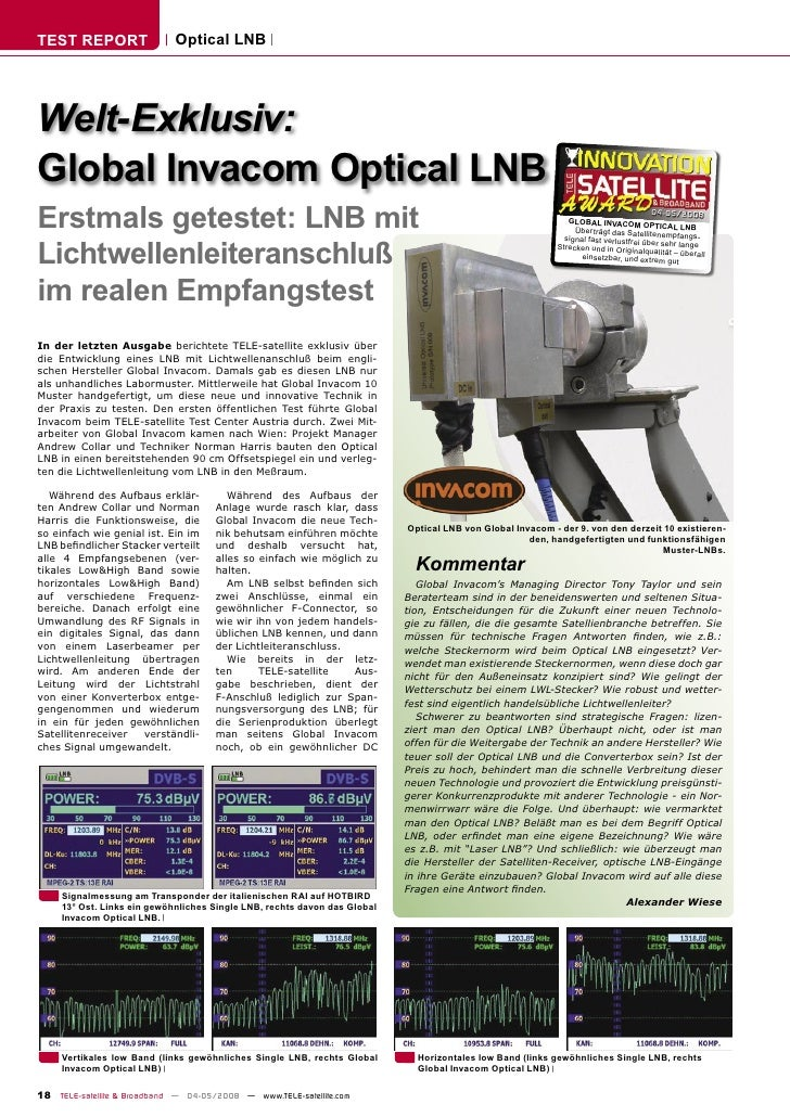 TEST REPORT                  Optical LNB     Welt-Exklusiv: Global Invacom Optical LNB Erstmals getestet: LNB mit         ...