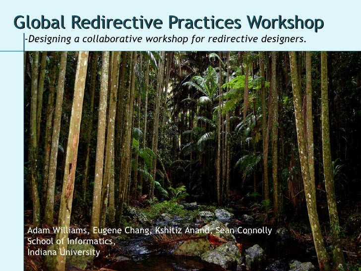 Global Redirective Practices Workshop <ul><li>i561 -  Adam Williams,  Eugene Chang,  Kshitiz Anand,  Sean Connolly </li></...