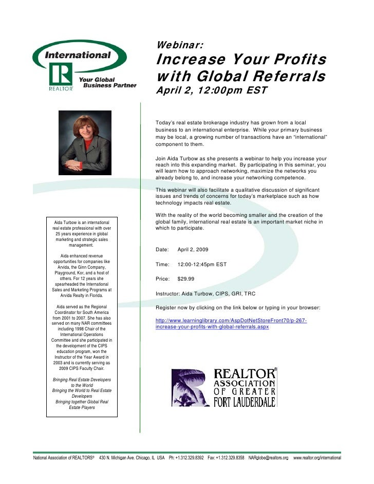 Webinar:                                      Increase Your Profits                                      with Global Refer...