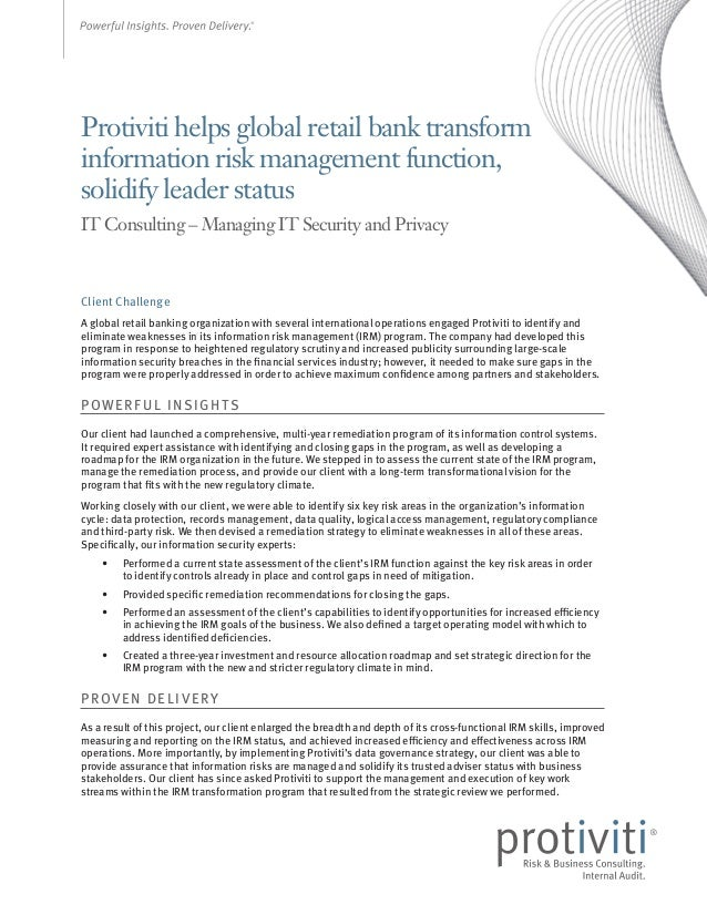 Protiviti helps global retail bank transform information risk management function, solidify leader status IT Consulting – ...