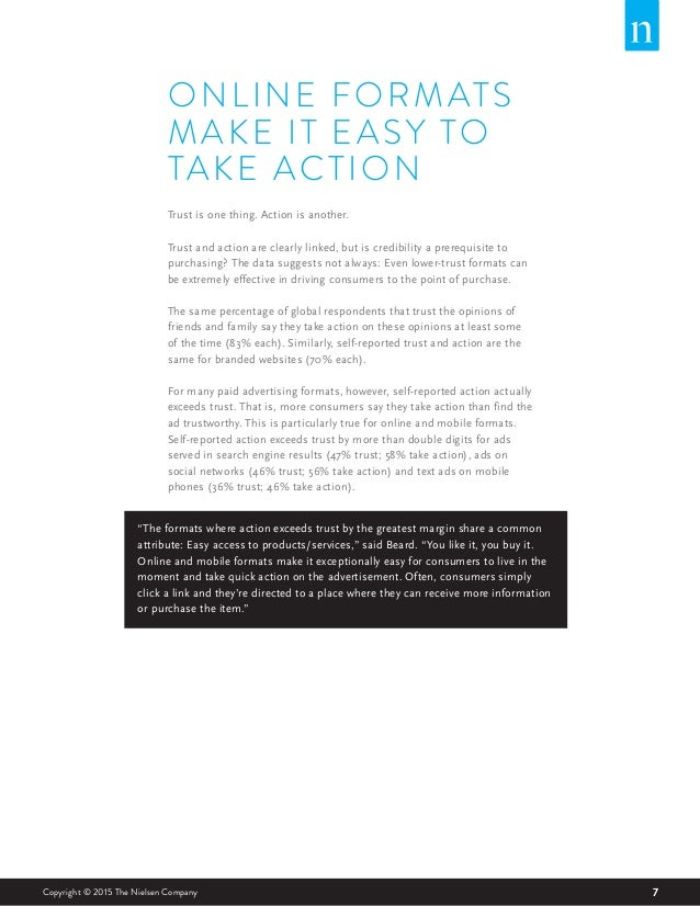 7Copyright © 2015 The Nielsen Company ONLINE FORMATS MAKE IT EASY TO TAKE ACTION Trust is one thing. Action is another. Tr...