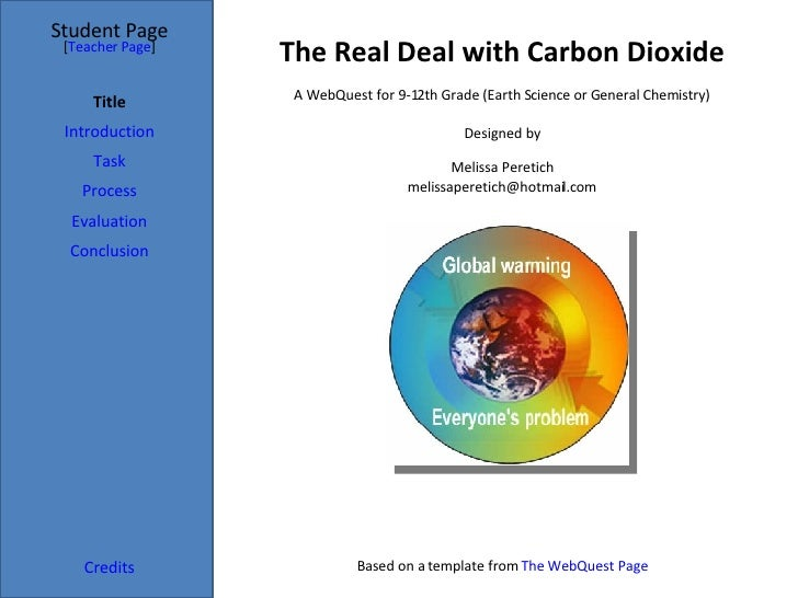 The Real Deal with Carbon Dioxide Student Page Title Introduction Task Process Evaluation Conclusion Credits [ Teacher Pag...