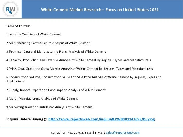 Cement Manufacturing Plants United States : White cement market research focus on united states