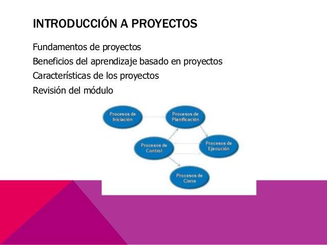Fundamentos de proyectos Beneficios del aprendizaje basado en proyectos Características de los proyectos Revisión del módu...