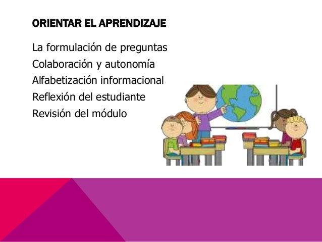 ORIENTAR EL APRENDIZAJE La formulación de preguntas Colaboración y autonomía Alfabetización informacional Reflexión del es...