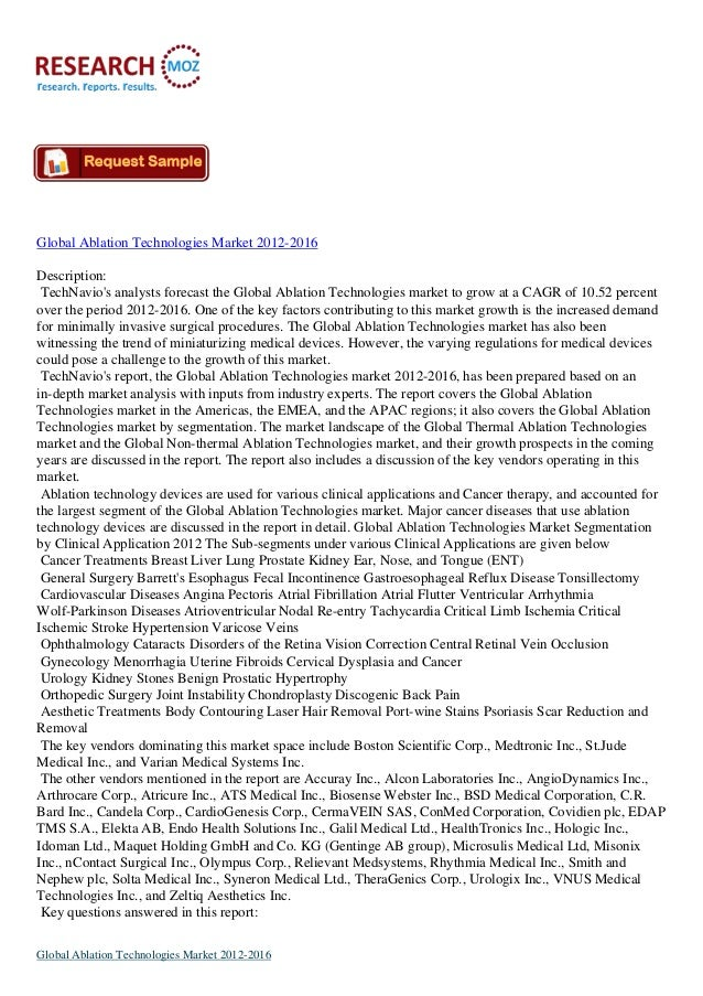 Global Ablation Technologies Market 2012-2016Description:TechNavios analysts forecast the Global Ablation Technologies mar...
