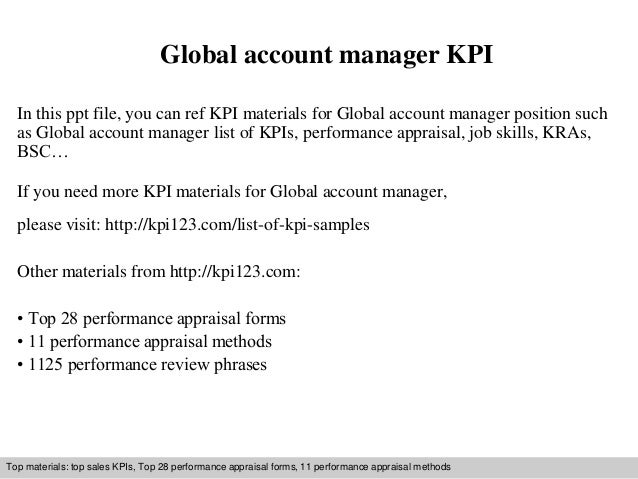 global account manager kpi in this ppt file you can ref kpi materials for global - Global Account Manager