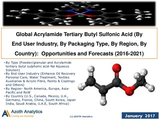 (c) AZOTH Analytics January 2017 Global Acrylamide Tertiary Butyl Sulfonic Acid (By End User Industry, By Packaging Type, ...