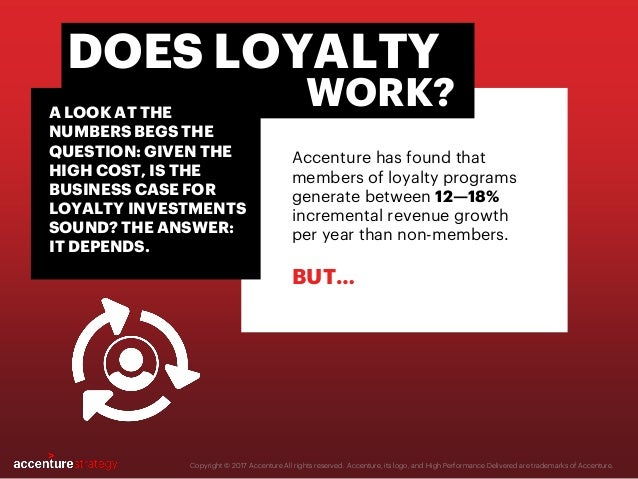 Accenture has found that members of loyalty programs generate between 12—18% incremental revenue growth per year than non-...