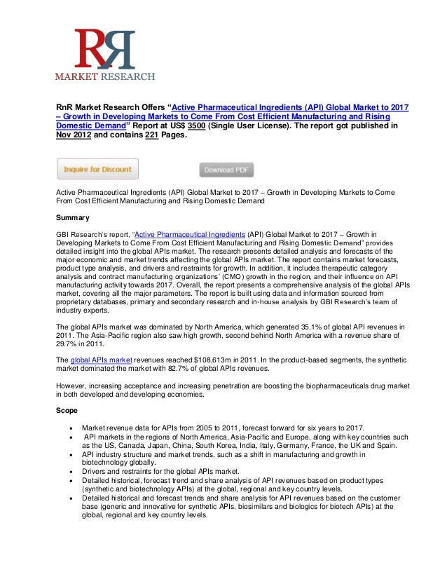 """RnR Market Research Offers """"Active Pharmaceutical Ingredients (API) Global Market to 2017– Growth in Developing Markets to..."""
