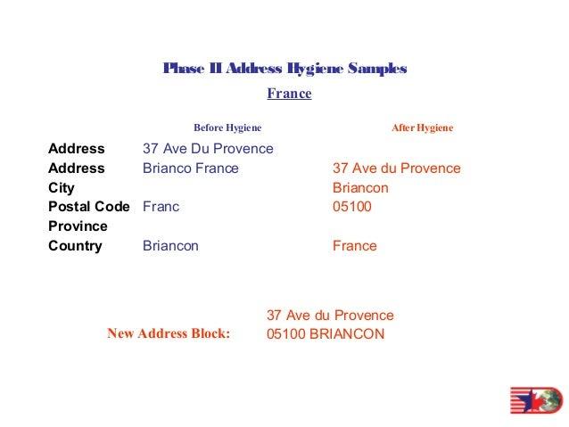 Global Address Hygiene Samples