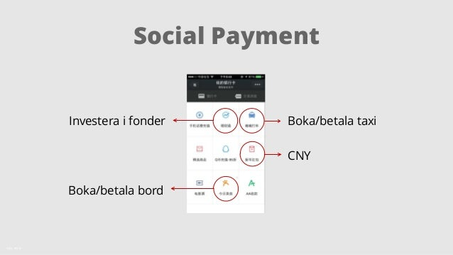 Social Payment  Källa: KPCB  Tencent WeChat = 400MM Mobile Active Chat Users...  Increasingly Using Payments + Commerce  I...