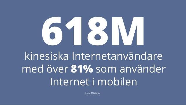 618M kinesiska Internetanvändare  med över 81% som använder  Internet i mobilen  Källa: TNW Asia