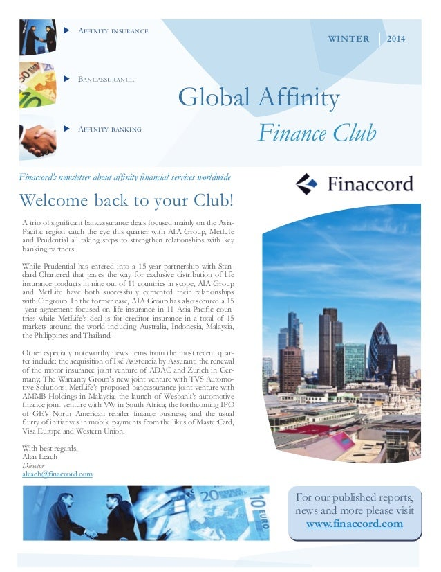 AFFINITY INSURANCE BANCASSURANCE AFFINITY BANKING Global Affinity Finance Club Finaccord's newsletter about affinity...