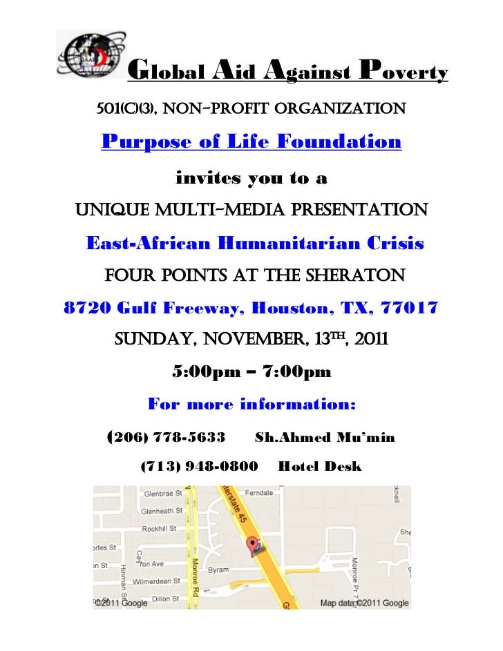 Global Aid Against Poverty   501(c)(3), non-profit organization   Purpose of Life Foundation            invites you to a u...