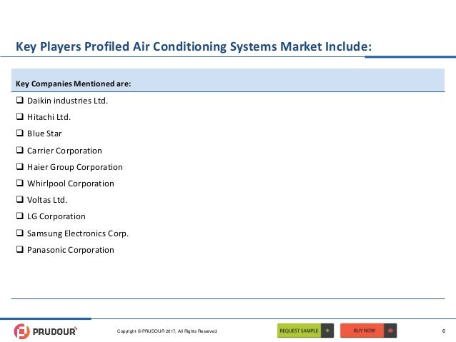 Key Players Profiled Air Conditioning Systems Market Include:  Daikin industries Ltd.  Hitachi Ltd.  Blue Star  Carrie...